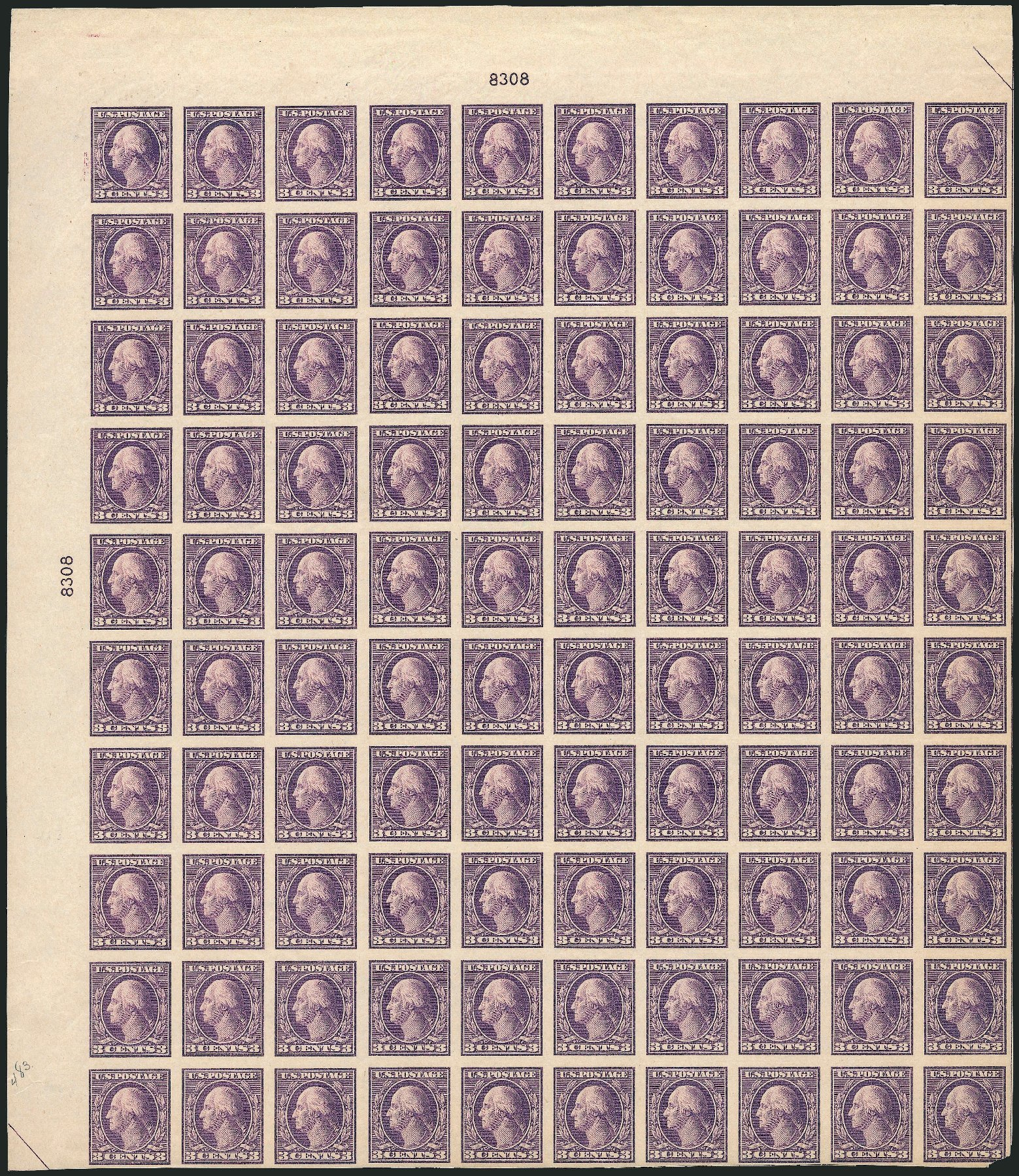 US Stamps Value Scott Catalog # 484: 1917 3c Washington Imperf. Robert Siegel Auction Galleries, Mar 2013, Sale 1040, Lot 1875