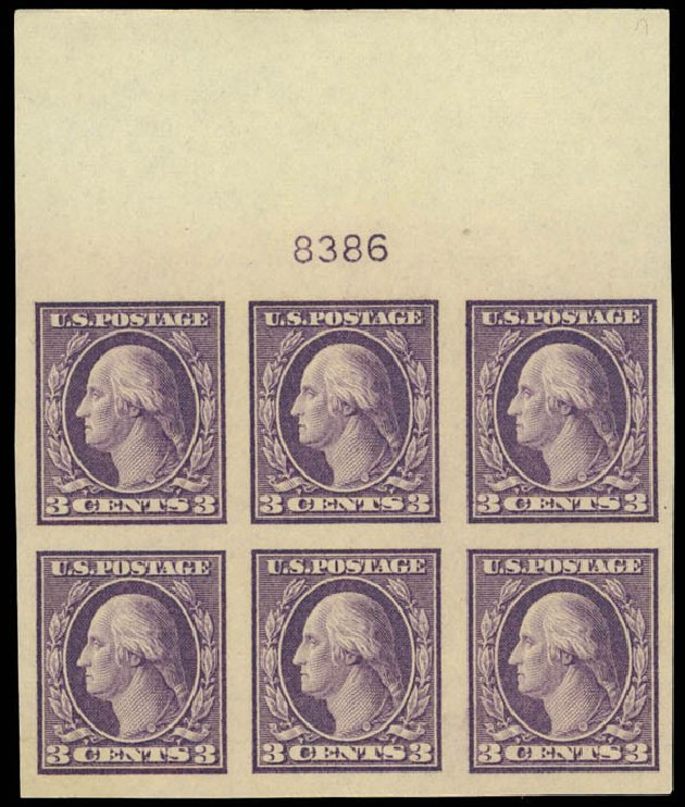 US Stamps Value Scott Cat. 484 - 1917 3c Washington Imperf. Daniel Kelleher Auctions, Aug 2012, Sale 631, Lot 1242