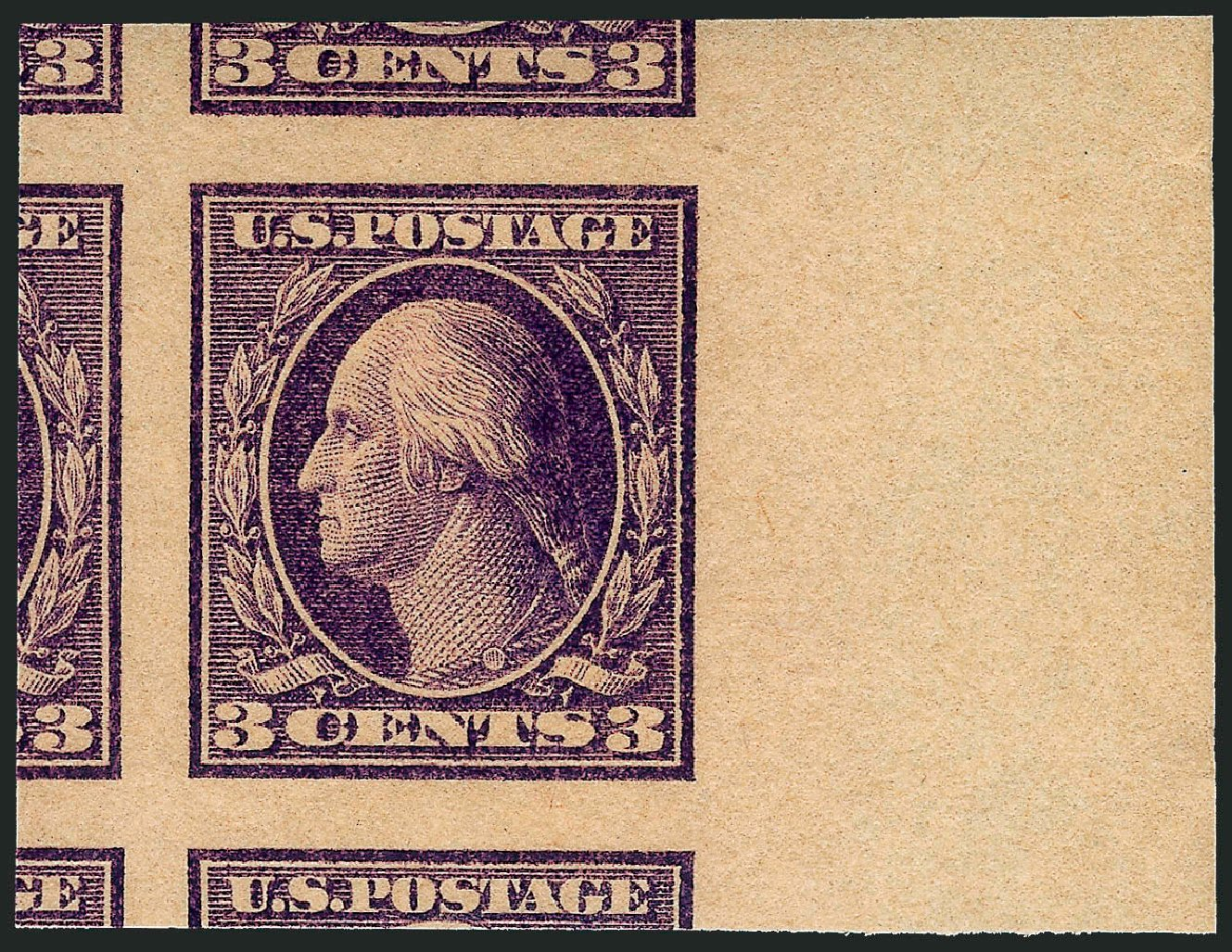 US Stamps Value Scott Cat. # 484: 3c 1917 Washington Imperf. Robert Siegel Auction Galleries, Dec 2008, Sale 967, Lot 4843