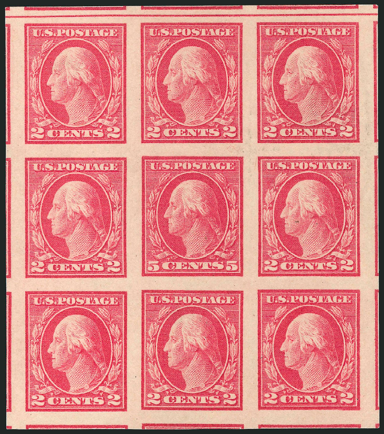 US Stamp Prices Scott Cat. 485: 1917 5c Washington Imperf. Robert Siegel Auction Galleries, May 2013, Sale 1044, Lot 298