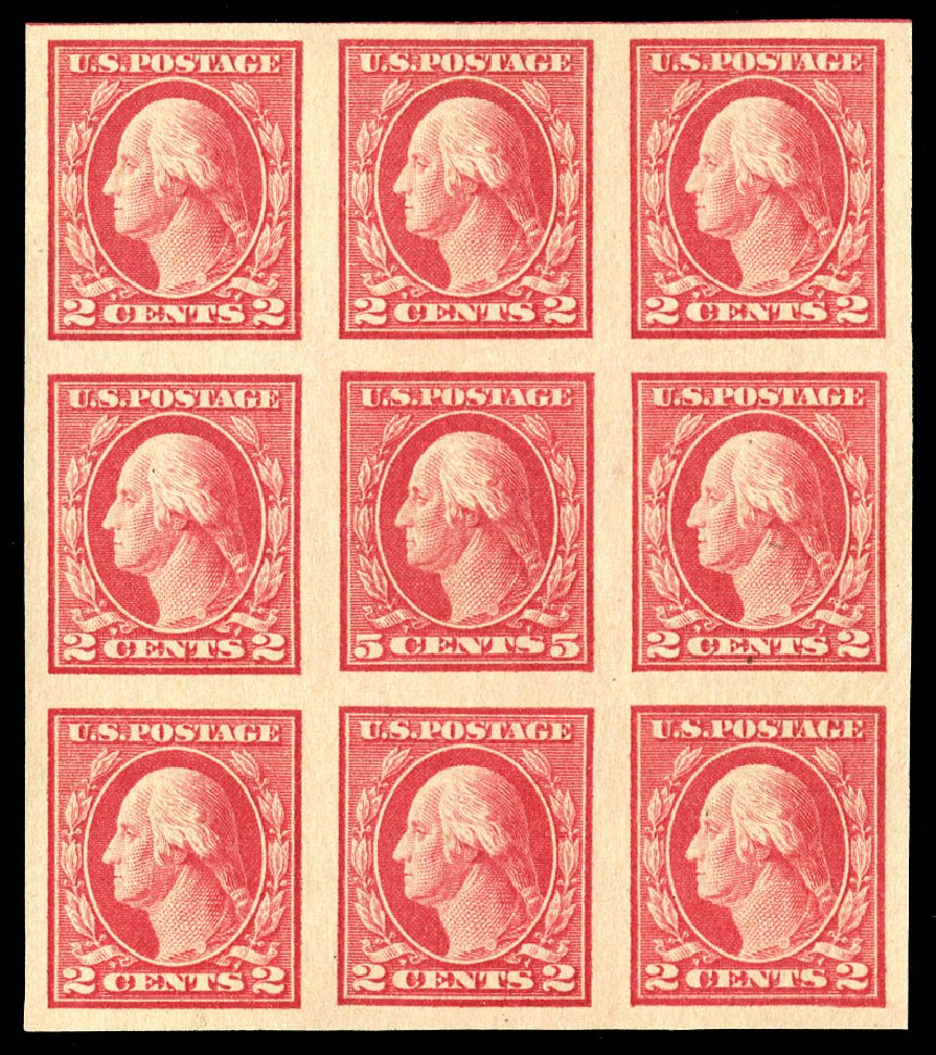 Prices of US Stamp Scott 485: 1917 5c Washington Imperf. Cherrystone Auctions, Jul 2015, Sale 201507, Lot 2164