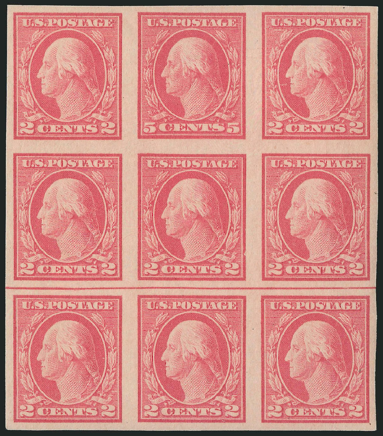 Prices of US Stamps Scott Cat. # 485 - 5c 1917 Washington Imperf. Robert Siegel Auction Galleries, Mar 2013, Sale 1040, Lot 1874
