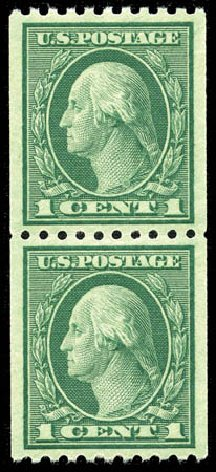 Price of US Stamps Scott Catalog 486 - 1918 1c Washington Coil Perf 10 Horizontally. Matthew Bennett International, Mar 2012, Sale 344, Lot 4620