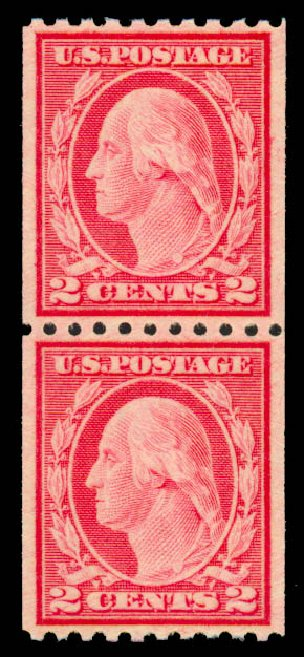 Costs of US Stamp Scott Catalog #487 - 1916 2c Washington Coil Perf 10 Horizontally. Daniel Kelleher Auctions, Sep 2013, Sale 639, Lot 1187