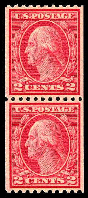 Costs of US Stamps Scott Catalogue #487: 1916 2c Washington Coil Perf 10 Horizontally. Daniel Kelleher Auctions, Dec 2012, Sale 633, Lot 859