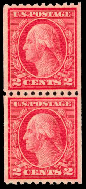 US Stamps Price Scott 487: 2c 1916 Washington Coil Perf 10 Horizontally. Daniel Kelleher Auctions, Oct 2014, Sale 660, Lot 2390