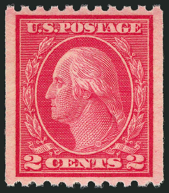 Values of US Stamp Scott Catalog # 487 - 1916 2c Washington Coil Perf 10 Horizontally. Robert Siegel Auction Galleries, Nov 2012, Sale 1034, Lot 450