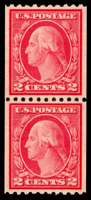 Costs of US Stamp Scott Catalog # 487 - 1916 2c Washington Coil Perf 10 Horizontally. Daniel Kelleher Auctions, Oct 2014, Sale 660, Lot 2391