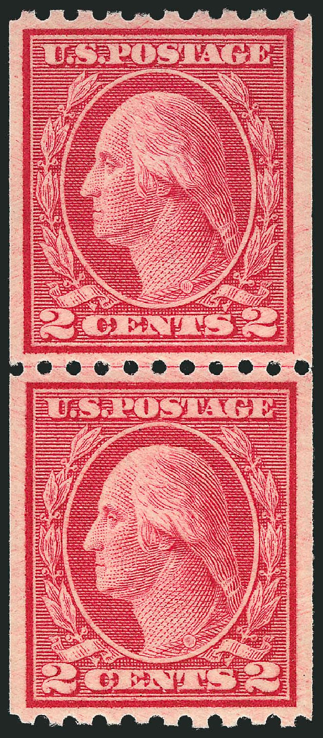 Values of US Stamp Scott Cat. # 488 - 2c 1916 Washington Coil Perf 10 Horizontally. Robert Siegel Auction Galleries, Dec 2012, Sale 1037, Lot 2079