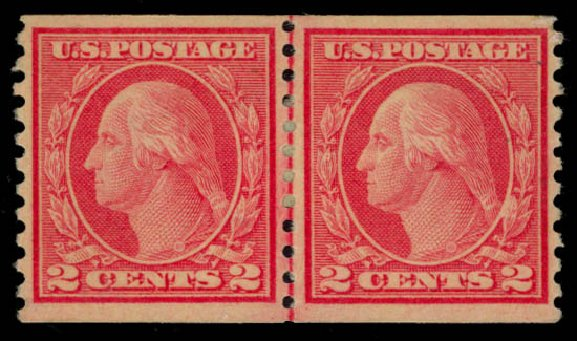 Cost of US Stamps Scott Cat. #491 - 1917 2c Washington Coil Perf 10 Vertically. Daniel Kelleher Auctions, May 2015, Sale 669, Lot 3082