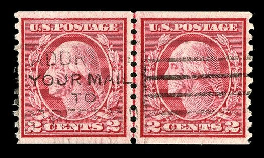 US Stamps Value Scott Cat. # 492 - 1917 2c Washington Coil Perf 10 Vertically. Spink Shreves Galleries, May 2014, Sale 148, Lot 328