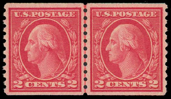 Prices of US Stamps Scott Catalogue 492 - 1917 2c Washington Coil Perf 10 Vertically. Daniel Kelleher Auctions, Jul 2011, Sale 625, Lot 1002