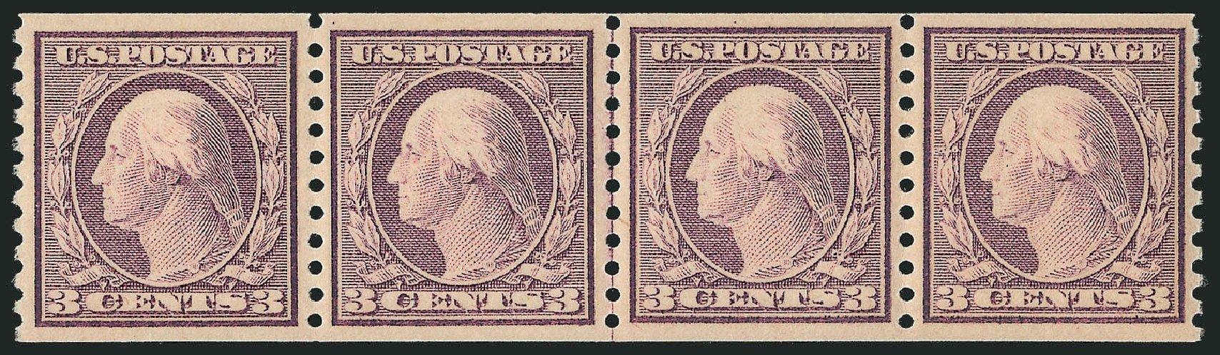 US Stamp Value Scott # 493 - 3c 1917 Washington Coil Perf 10 Vertically. Robert Siegel Auction Galleries, Jun 2012, Sale 1026, Lot 1437
