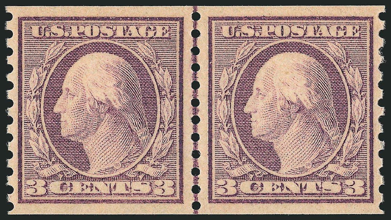 US Stamps Prices Scott Catalogue #493: 1917 3c Washington Coil Perf 10 Vertically. Robert Siegel Auction Galleries, Dec 2013, Sale 1062, Lot 687