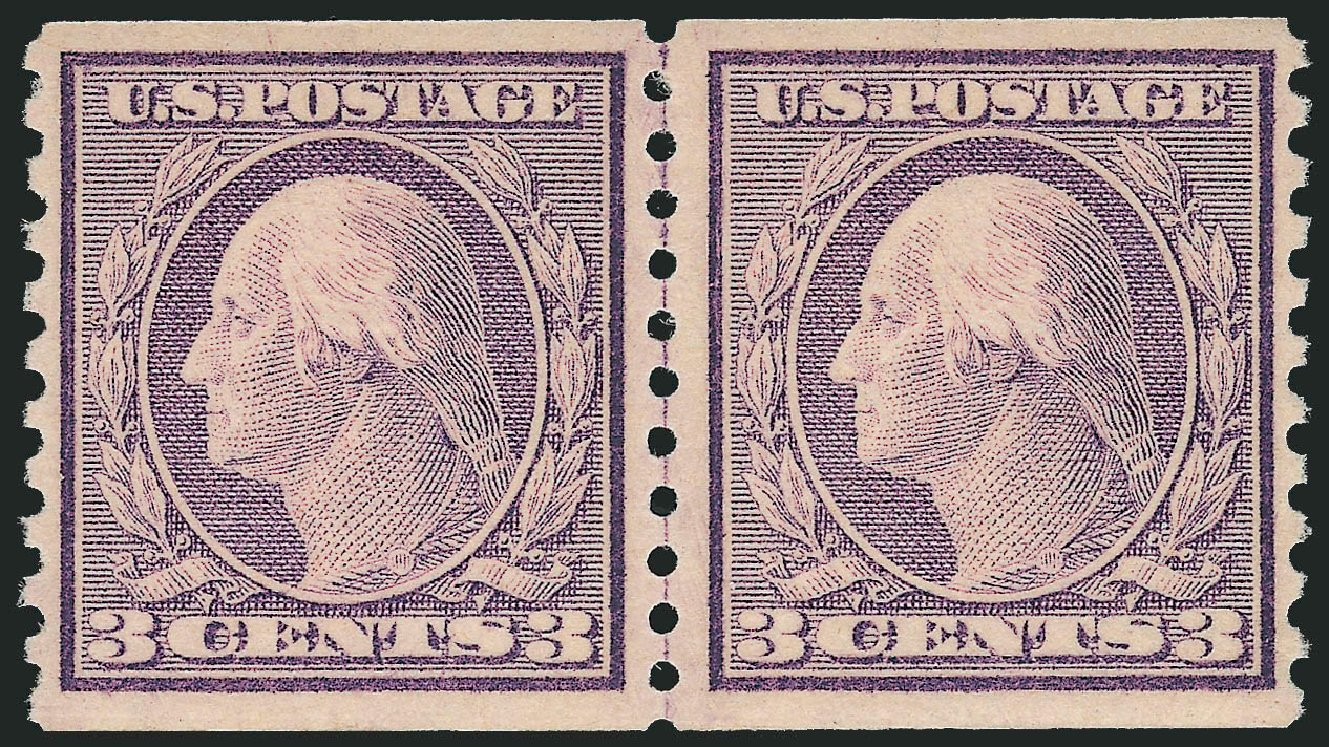 US Stamps Prices Scott Catalogue 493 - 1917 3c Washington Coil Perf 10 Vertically. Robert Siegel Auction Galleries, Feb 2015, Sale 1092, Lot 1347