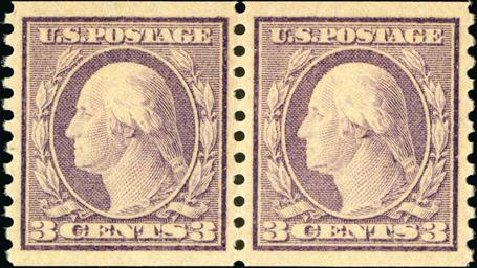 Price of US Stamp Scott Cat. 493 - 1917 3c Washington Coil Perf 10 Vertically. Spink Shreves Galleries, Jan 2015, Sale 150, Lot 187