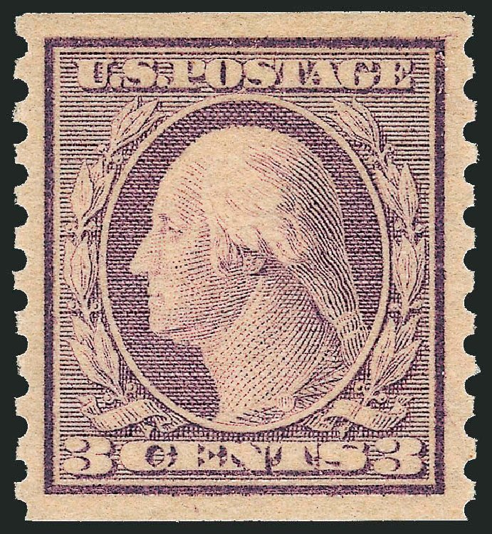 Values of US Stamps Scott Catalog #493: 3c 1917 Washington Coil Perf 10 Vertically. Robert Siegel Auction Galleries, Dec 2013, Sale 1062, Lot 688