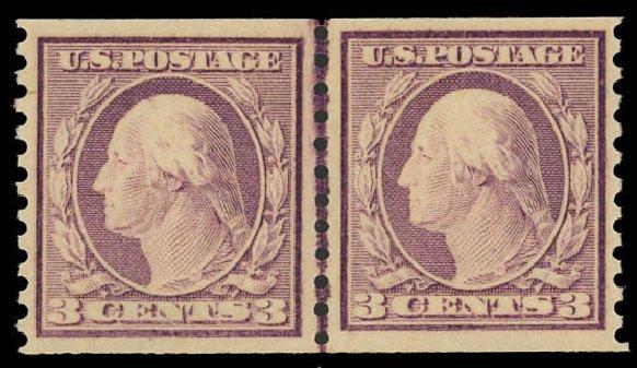Cost of US Stamps Scott #493 - 3c 1917 Washington Coil Perf 10 Vertically. Daniel Kelleher Auctions, Jun 2012, Sale 630, Lot 1870