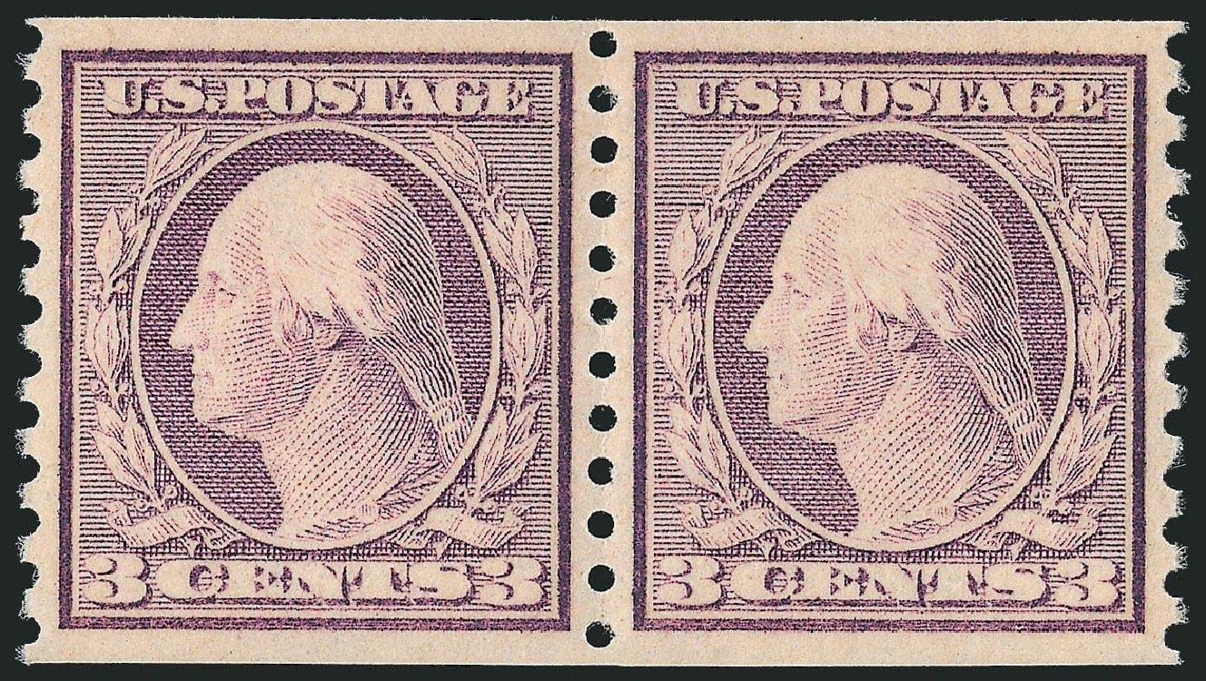 US Stamp Price Scott Cat. #493: 1917 3c Washington Coil Perf 10 Vertically. Robert Siegel Auction Galleries, Dec 2012, Sale 1037, Lot 2080