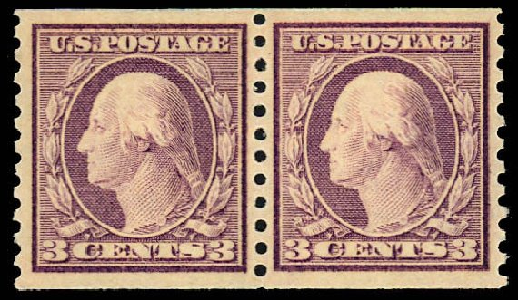 US Stamp Price Scott Catalogue # 493: 3c 1917 Washington Coil Perf 10 Vertically. Daniel Kelleher Auctions, Dec 2012, Sale 633, Lot 861
