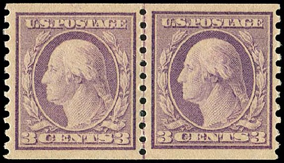 Costs of US Stamp Scott Catalogue # 493 - 1917 3c Washington Coil Perf 10 Vertically. Regency-Superior, Aug 2015, Sale 112, Lot 884