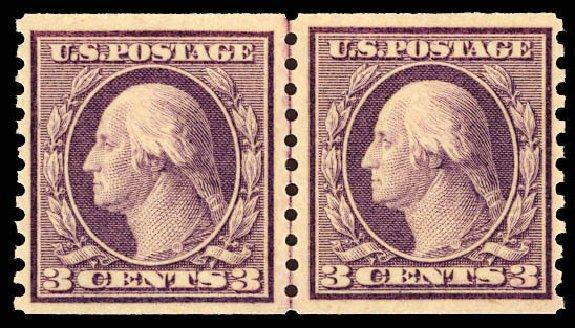 US Stamp Value Scott Catalogue #493: 1917 3c Washington Coil Perf 10 Vertically. Daniel Kelleher Auctions, Dec 2012, Sale 633, Lot 862