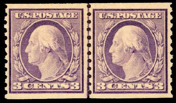 US Stamps Value Scott #493: 3c 1917 Washington Coil Perf 10 Vertically. Daniel Kelleher Auctions, Dec 2012, Sale 633, Lot 863
