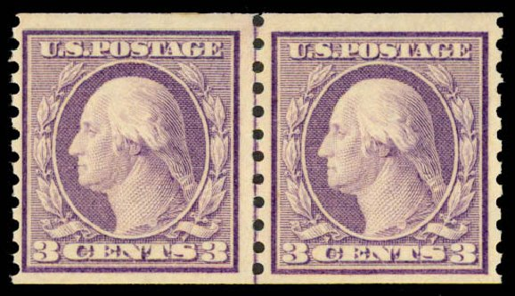 US Stamp Values Scott Cat. # 493 - 3c 1917 Washington Coil Perf 10 Vertically. Daniel Kelleher Auctions, May 2015, Sale 669, Lot 3086