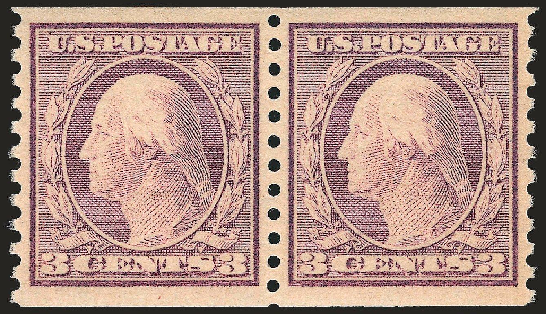 US Stamps Prices Scott Catalogue # 493 - 1917 3c Washington Coil Perf 10 Vertically. Robert Siegel Auction Galleries, Jun 2009, Sale 975, Lot 1906