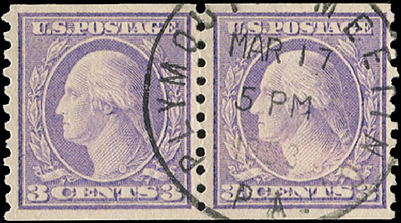 Values of US Stamps Scott Catalogue # 494 - 3c 1917 Washington Coil Perf 10 Vertically. Regency-Superior, Aug 2015, Sale 112, Lot 888