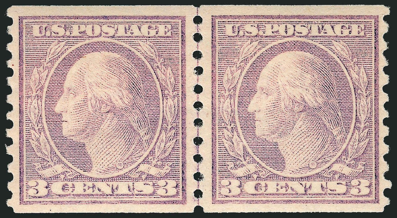 US Stamp Values Scott Cat. #494: 3c 1917 Washington Coil Perf 10 Vertically. Robert Siegel Auction Galleries, Dec 2013, Sale 1062, Lot 689