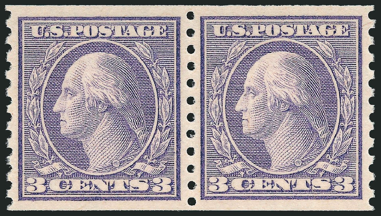Price of US Stamp Scott Cat. 494 - 3c 1917 Washington Coil Perf 10 Vertically. Robert Siegel Auction Galleries, Dec 2013, Sale 1062, Lot 690