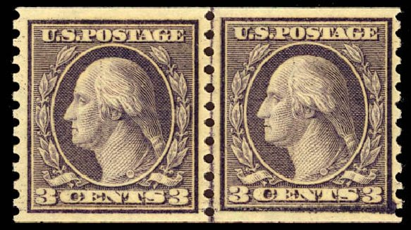 Cost of US Stamp Scott Catalogue 494: 1917 3c Washington Coil Perf 10 Vertically. Daniel Kelleher Auctions, Dec 2012, Sale 633, Lot 864
