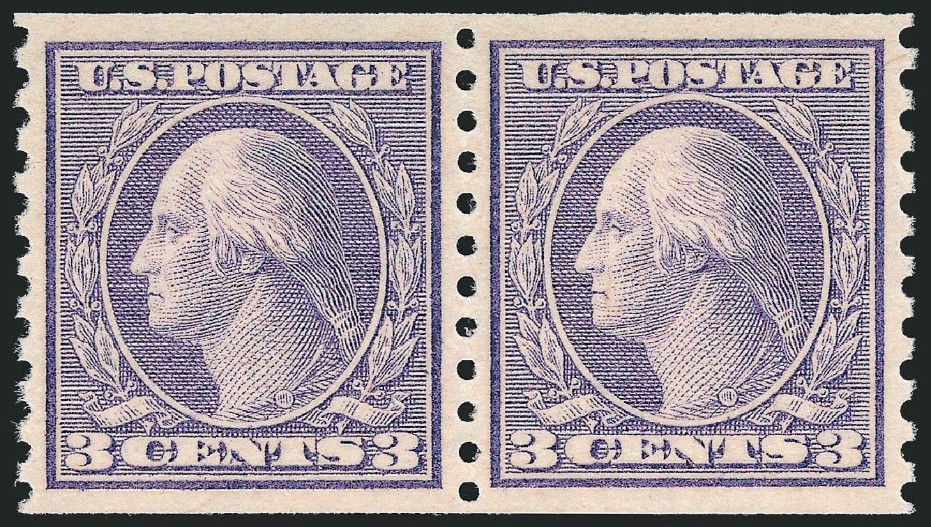US Stamp Price Scott # 494 - 1917 3c Washington Coil Perf 10 Vertically. Robert Siegel Auction Galleries, Jul 2013, Sale 1050, Lot 604