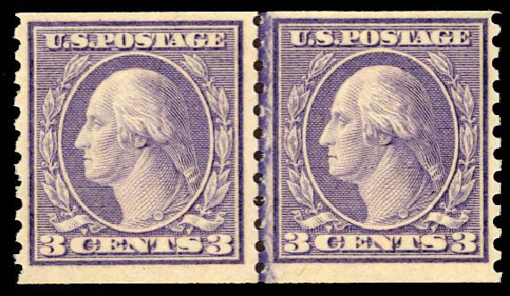 Prices of US Stamp Scott Catalogue #494 - 3c 1917 Washington Coil Perf 10 Vertically. Daniel Kelleher Auctions, Dec 2012, Sale 633, Lot 865