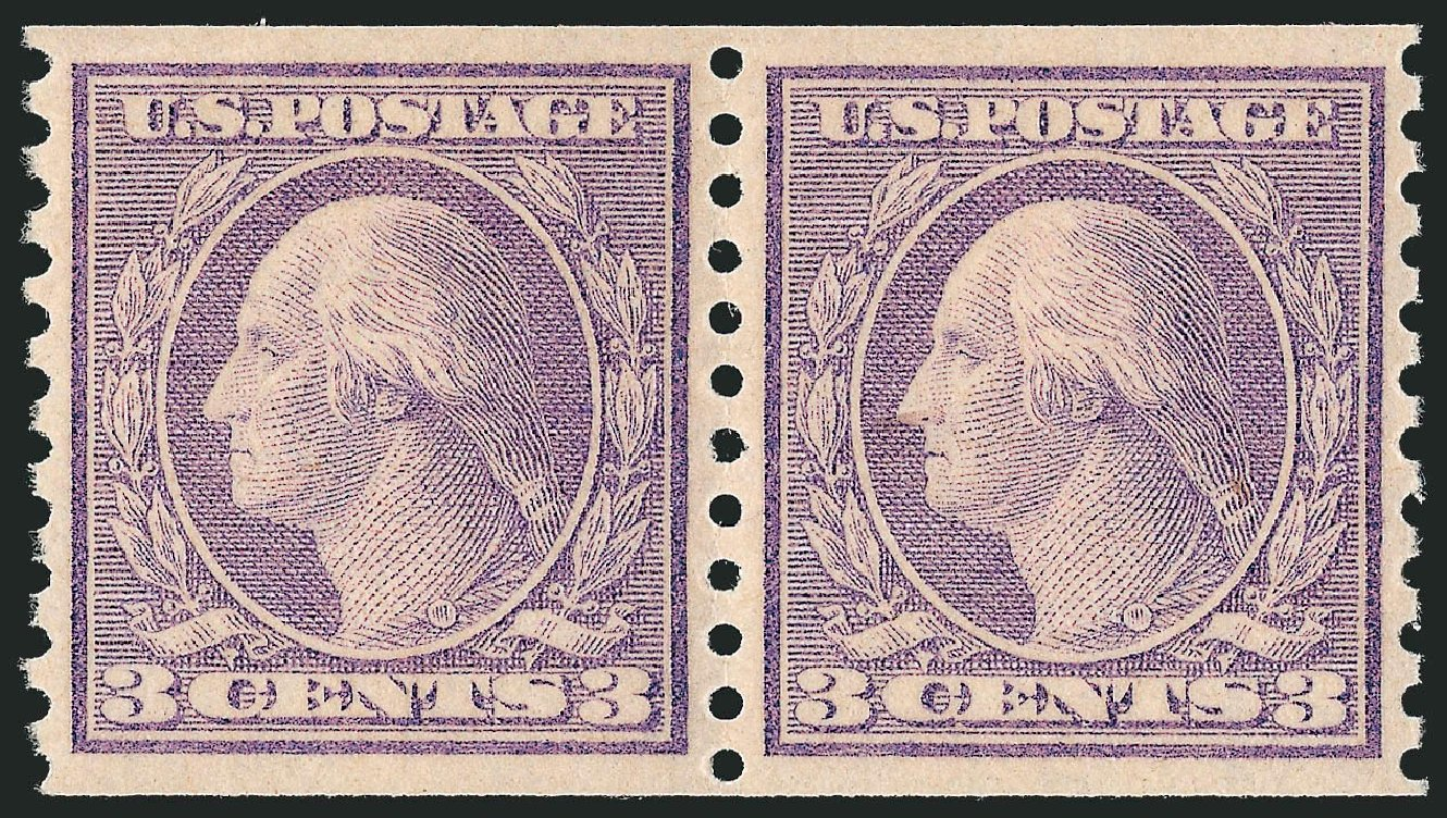 US Stamp Price Scott Catalog 494: 1917 3c Washington Coil Perf 10 Vertically. Robert Siegel Auction Galleries, Dec 2014, Sale 1090, Lot 1546