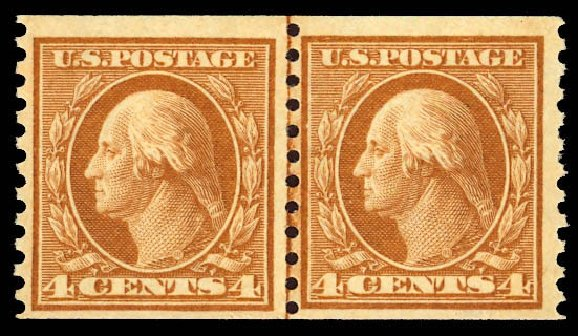 Costs of US Stamps Scott # 495: 4c 1917 Washington Coil Perf 10 Vertically. Daniel Kelleher Auctions, Dec 2012, Sale 633, Lot 867