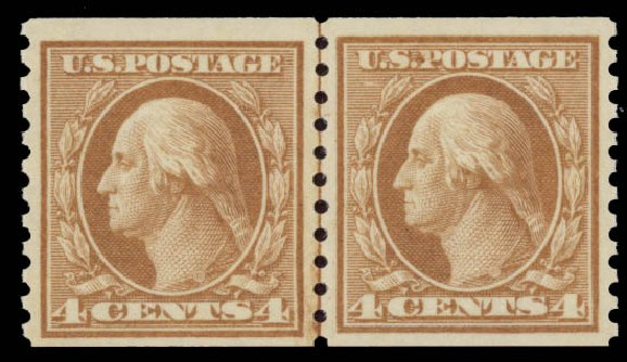 US Stamps Value Scott 495: 1917 4c Washington Coil Perf 10 Vertically. Daniel Kelleher Auctions, May 2015, Sale 669, Lot 3087
