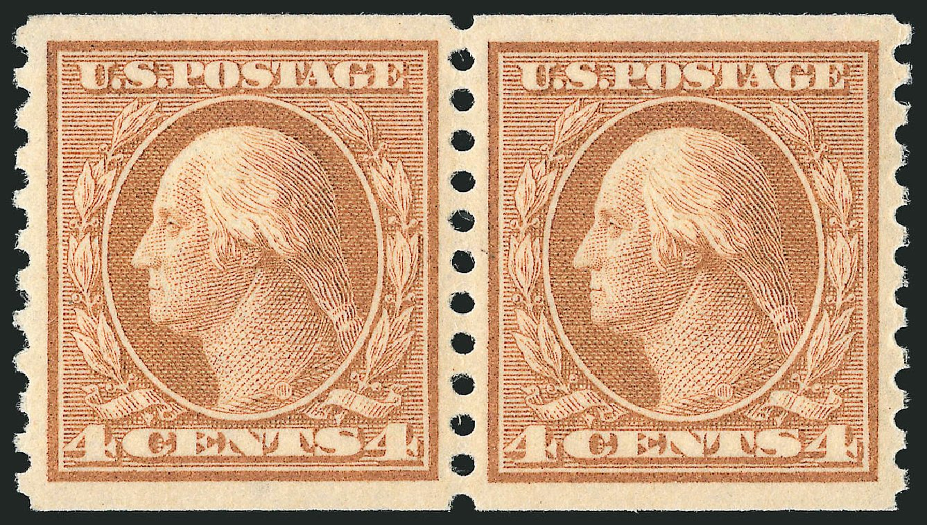 Value of US Stamps Scott 495: 1917 4c Washington Coil Perf 10 Vertically. Robert Siegel Auction Galleries, Feb 2015, Sale 1092, Lot 1348