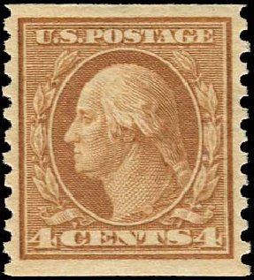 US Stamp Value Scott Catalog 495: 1917 4c Washington Coil Perf 10 Vertically. Regency-Superior, Aug 2015, Sale 112, Lot 891
