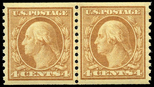 US Stamp Values Scott #495: 1917 4c Washington Coil Perf 10 Vertically. Matthew Bennett International, May 2014, Sale 350, Lot 634