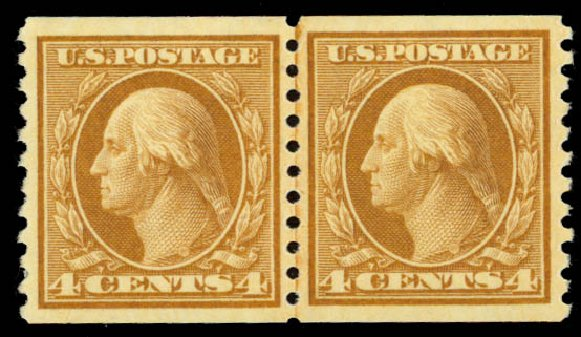 Values of US Stamp Scott Catalog #495: 4c 1917 Washington Coil Perf 10 Vertically. Daniel Kelleher Auctions, Sep 2014, Sale 655, Lot 535