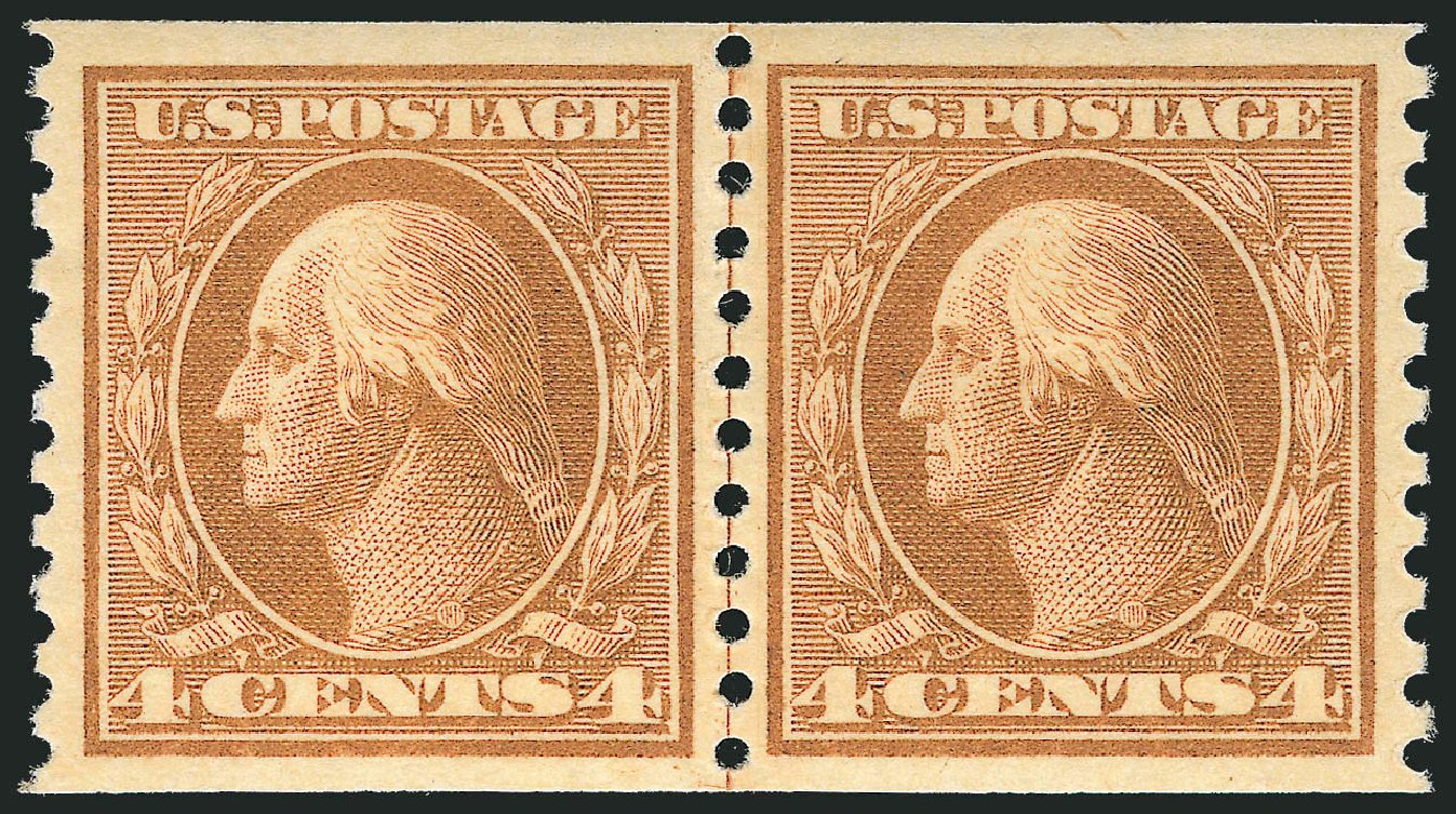 Prices of US Stamps Scott Cat. # 495: 1917 4c Washington Coil Perf 10 Vertically. Robert Siegel Auction Galleries, Feb 2015, Sale 1093, Lot 435