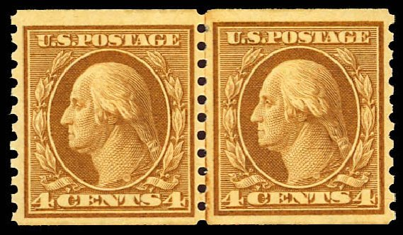 US Stamps Price Scott Catalog # 495 - 1917 4c Washington Coil Perf 10 Vertically. Daniel Kelleher Auctions, Apr 2013, Sale 636, Lot 372
