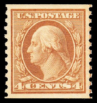 Values of US Stamps Scott Catalog 495: 1917 4c Washington Coil Perf 10 Vertically. Daniel Kelleher Auctions, May 2014, Sale 652, Lot 702