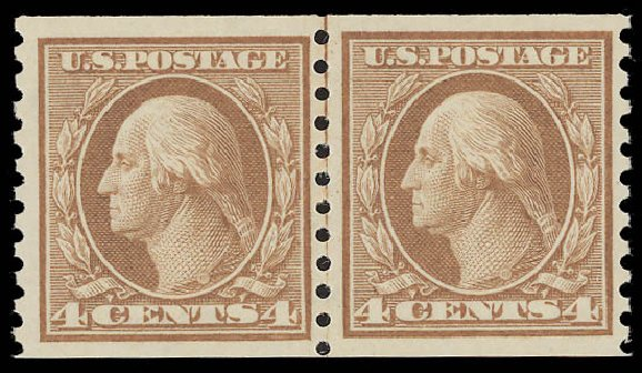 Price of US Stamps Scott 495 - 4c 1917 Washington Coil Perf 10 Vertically. Daniel Kelleher Auctions, Aug 2015, Sale 672, Lot 2762