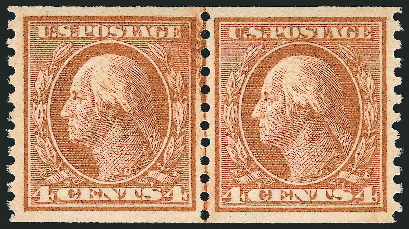 US Stamp Value Scott Cat. 495: 1917 4c Washington Coil Perf 10 Vertically. Robert Siegel Auction Galleries, Nov 2012, Sale 1034, Lot 452