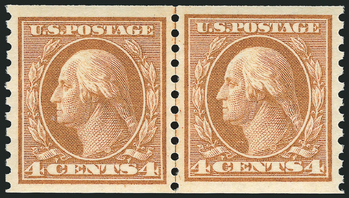 US Stamp Price Scott Catalogue 495 - 4c 1917 Washington Coil Perf 10 Vertically. Robert Siegel Auction Galleries, Dec 2013, Sale 1062, Lot 692
