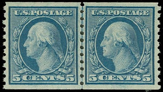 US Stamps Values Scott # 496: 5c 1919 Washington Coil Perf 10 Vertically. H.R. Harmer, Oct 2014, Sale 3006, Lot 1377
