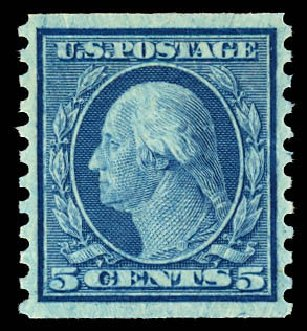 Price of US Stamp Scott Cat. 496 - 5c 1919 Washington Coil Perf 10 Vertically. Daniel Kelleher Auctions, Dec 2012, Sale 633, Lot 868